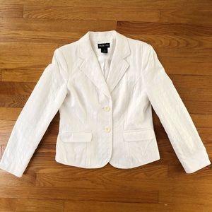 Style & Co White Cotton Textured Career Blazer